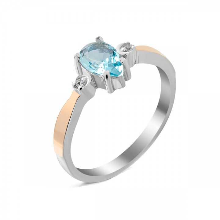 Sidabrinis žiedas su cirkoniu dengtas auksu - Sidabriniai žiedai - Goldinga