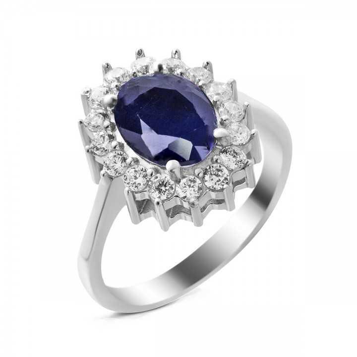 Sidabrinis žiedas su safyru - Žiedai su brangakmeniais - Goldinga