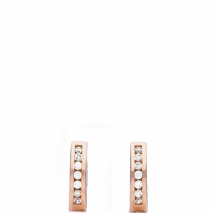 Paauksuoti sidabriniai auskarai rinkutės su cirkoniais 10mm - Sidabriniai auskarai - Goldinga