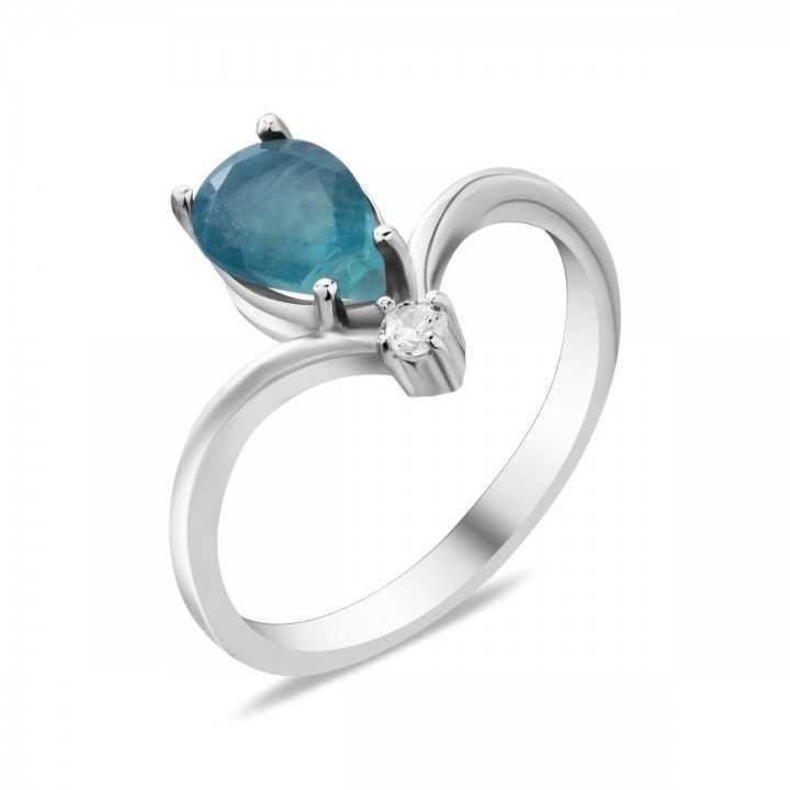 Sidabrinis žiedas su fluoritu ir cirkoniu - Sidabriniai žiedai - Goldinga