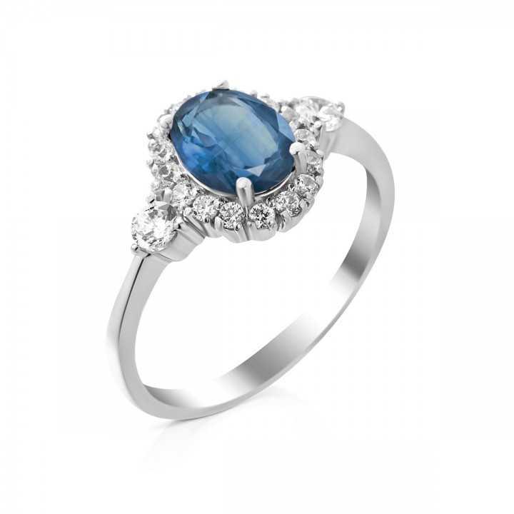 Sidabrinis žiedas su London topazu ir cirkoniais - Sidabriniai žiedai - Goldinga