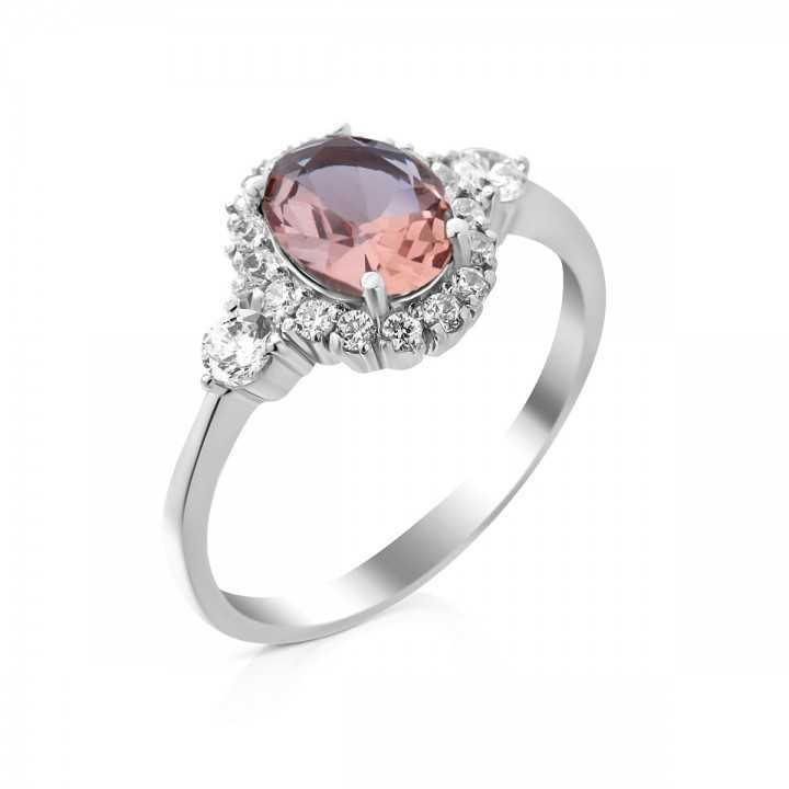 Sidabrinis žiedas su sultanitu ir cirkoniais - Sidabriniai žiedai - Goldinga