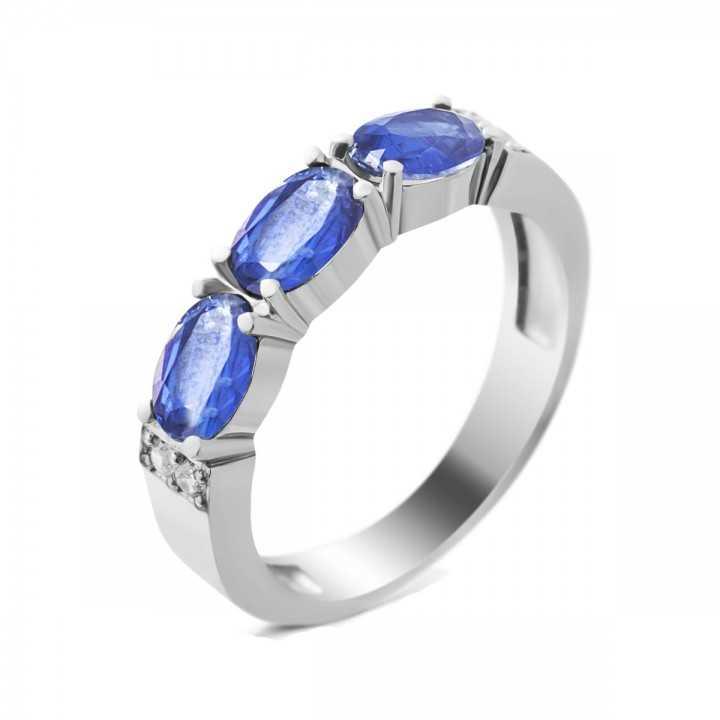 Sidabrinis žiedas su kianitais ir cirkoniais - Sidabriniai žiedai - Goldinga