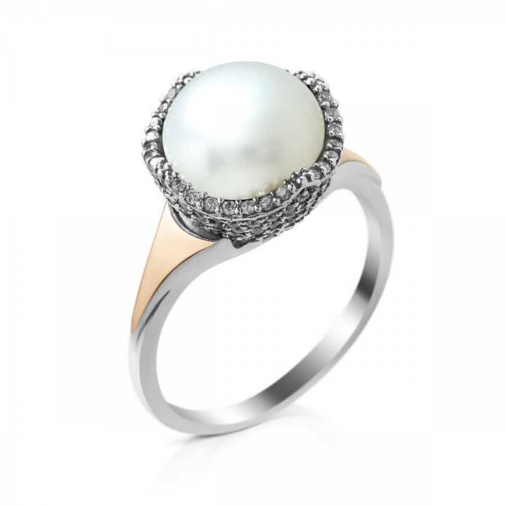 Sidabrinis žiedas su perlu ir cirkoniais dengtas auksu - Sidabriniai žiedai - Goldinga