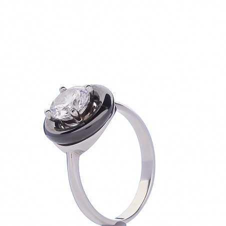 Sidabrinis žiedas su cirkoniu ir keramika - Sidabriniai žiedai - Goldinga