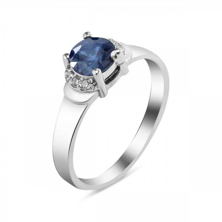 Sidabrinis žiedas su kianitu ir cirkoniais - Sidabriniai žiedai - Goldinga