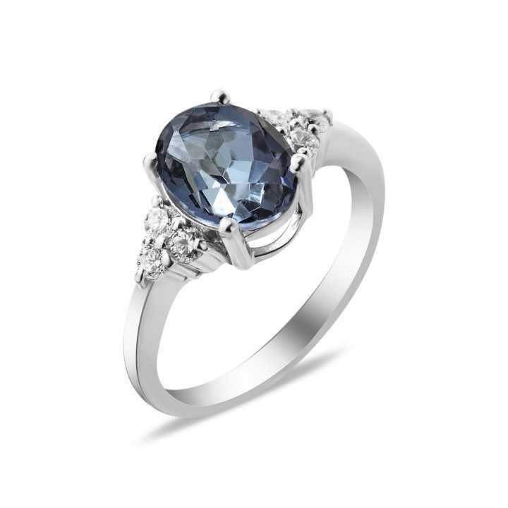 Sidabrinis žiedas su mėlynuoju kvarcu ir cirkoniais - Sidabriniai žiedai - Goldinga