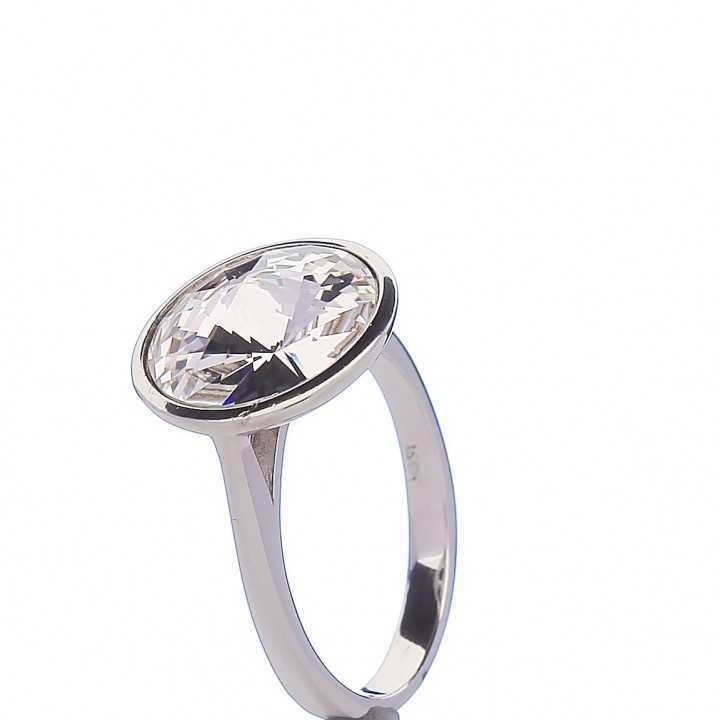 Sidabrinis žiedas su Swarovski kristalu - Sidabriniai žiedai - Goldinga