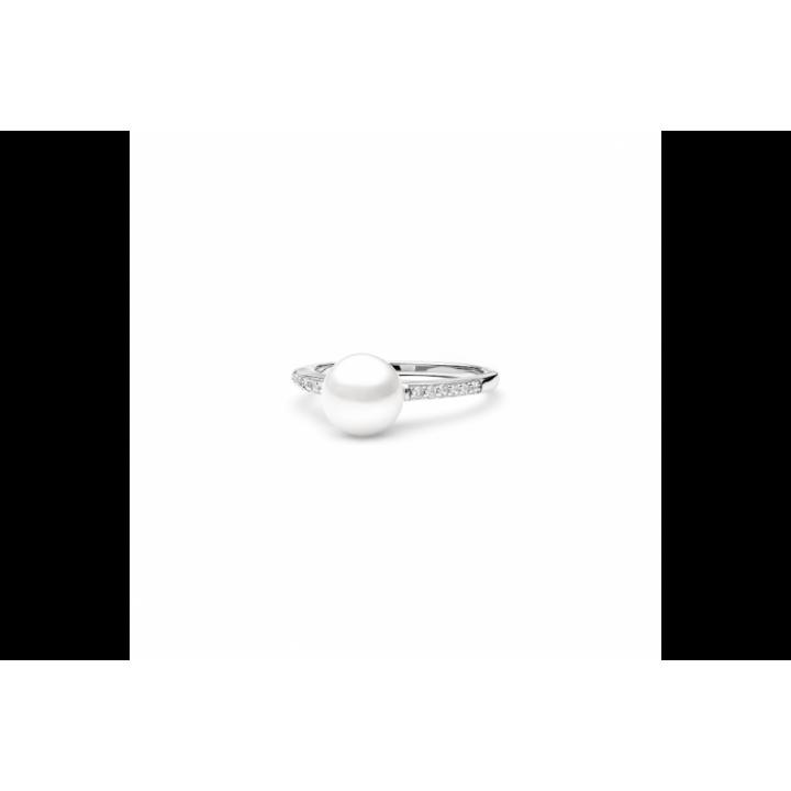 Sidabrinis žiedas su perlais ir cirkoniais - Sidabriniai žiedai - Goldinga