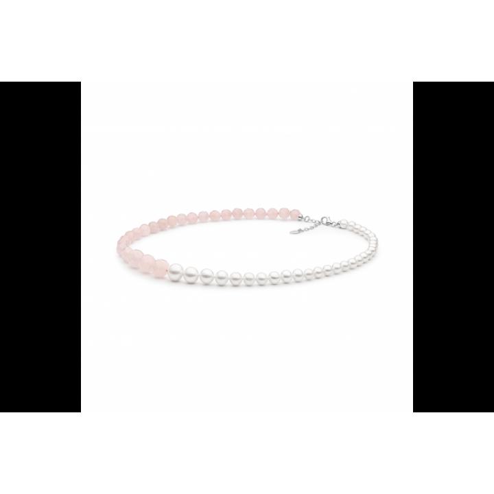 Perlų vėrinys su rožiniais kvarcais - Perlų vėriniai - Goldinga