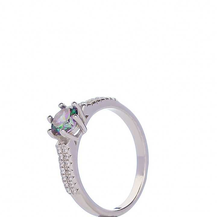 Sidabrinis žiedas su Swarovski kristalu ir cirkoniais - Sidabriniai žiedai - Goldinga