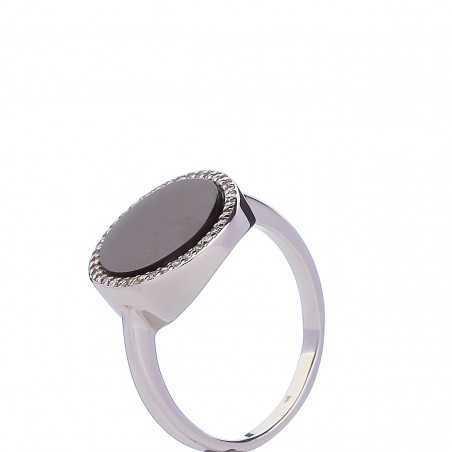 Sidabrinis žiedas su oniksu ir cirkoniais - Sidabriniai žiedai - Goldinga