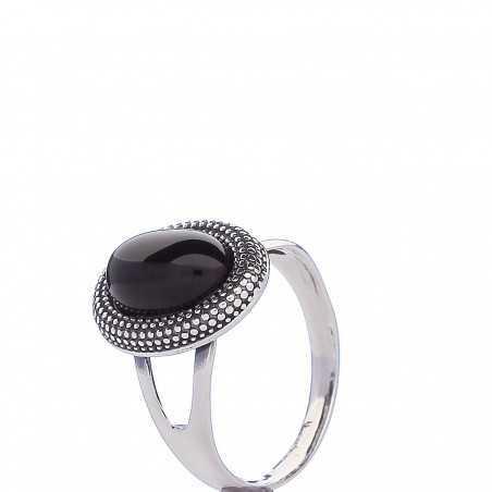 Sidabrinis žiedas su oniksu - Sidabriniai žiedai - Goldinga