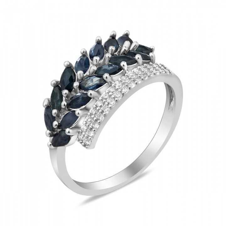 Sidabrinis žiedas su safyrais ir cirkoniais - Žiedai su brangakmeniais - Goldinga