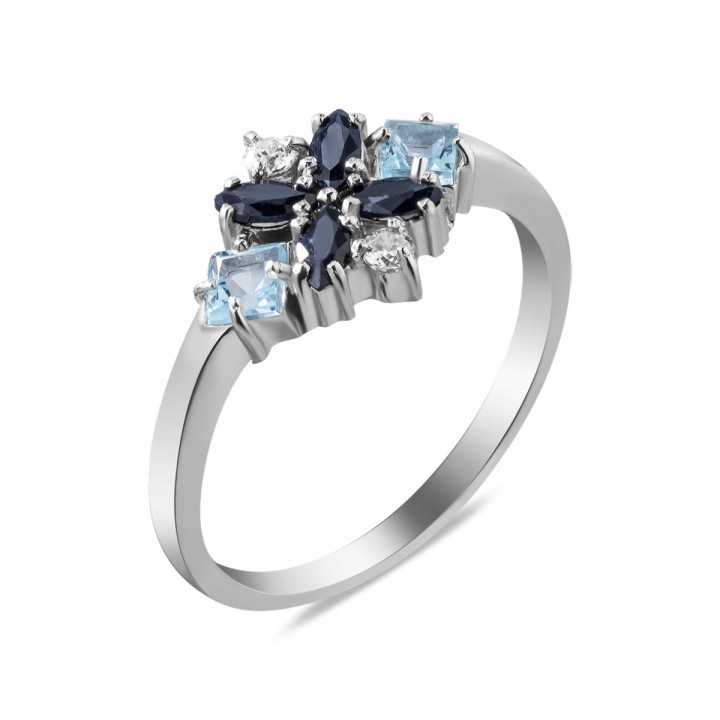 Sidabrinis žiedas su safyrais, akvamarinais ir cirkoniais - Žiedai su brangakmeniais - Goldinga