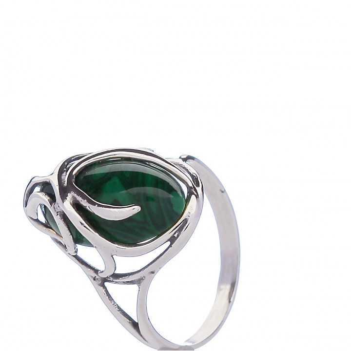 Sidabrinis žiedas su malachitu - Sidabriniai žiedai - Goldinga