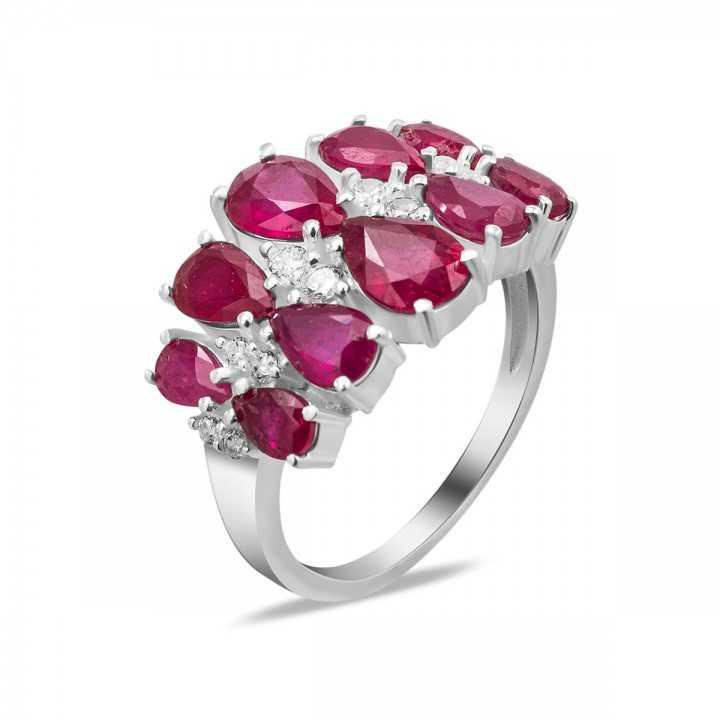 Sidabrinis žiedas su rubinais ir cirkoniais - Žiedai su brangakmeniais - Goldinga