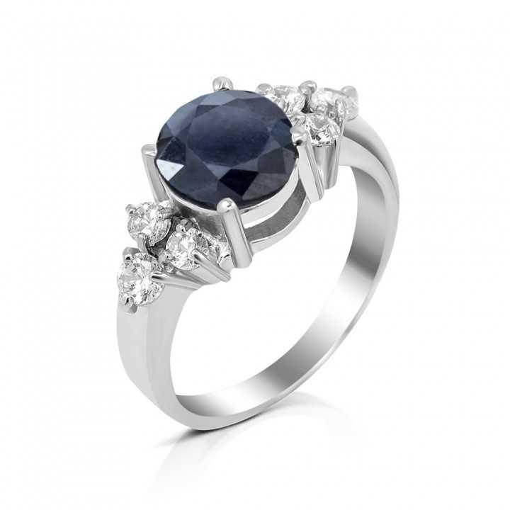 Sidabrinis žiedas su safyru ir cirkoniais - Žiedai su brangakmeniais - Goldinga