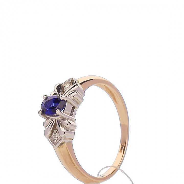 Auksinis žiedas su safyru ir briliantais - Auksiniai žiedai - Goldinga