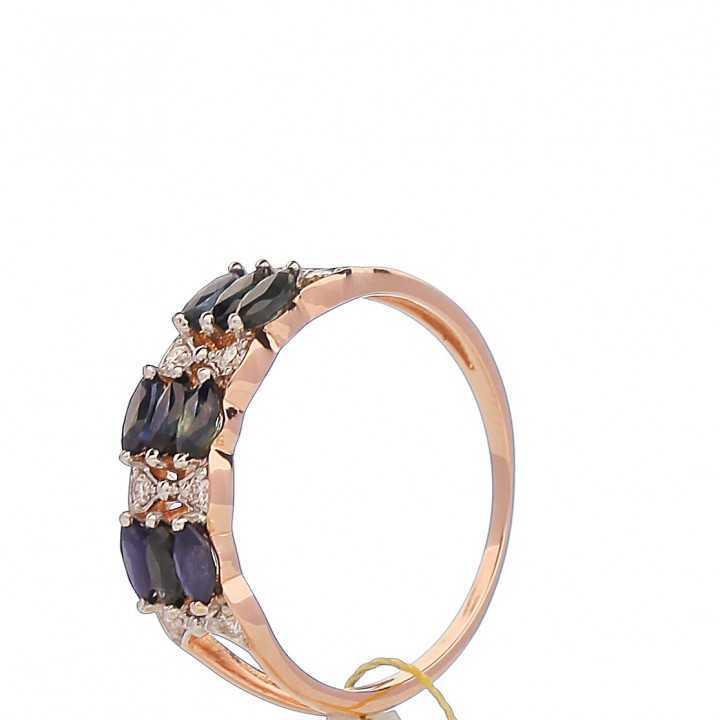 Auksinis žiedas su safyrais ir briliantais - Auksiniai žiedai - Goldinga