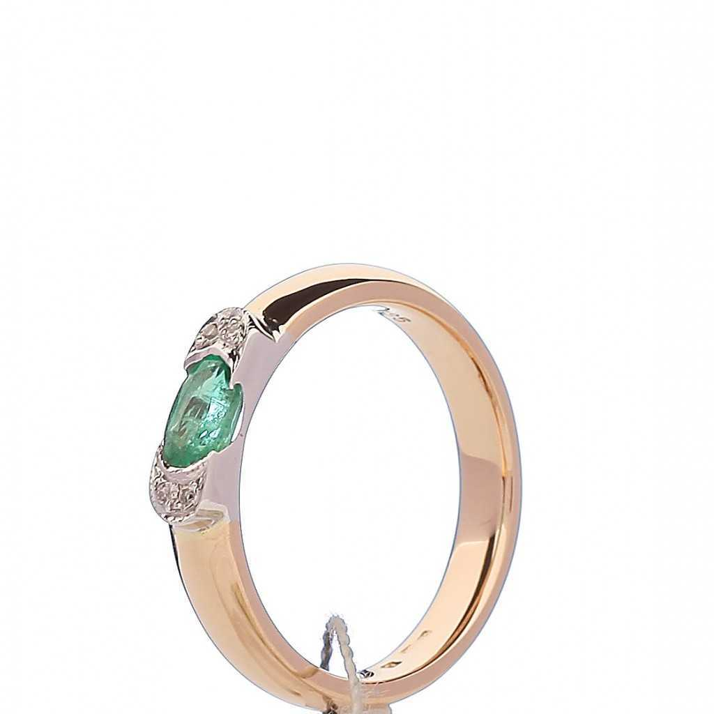 Auksinis žiedas su smaragdu ir briliantais - Auksiniai žiedai - Goldinga