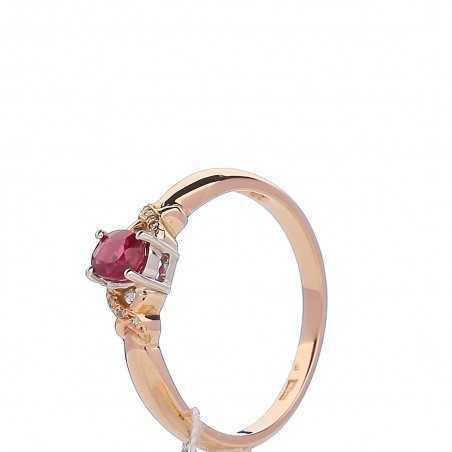Auksinis žiedas su rubinu ir briliantais - Auksiniai žiedai - Goldinga