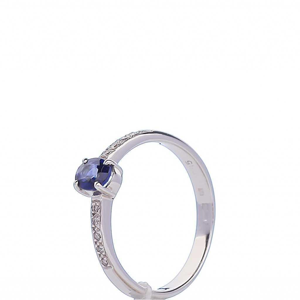 Balto Aukso Žiedas Su safyru ir briliantais - Auksiniai žiedai - Goldinga