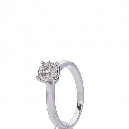 Balto Aukso Žiedas Su Deimantais - Auksiniai žiedai - Goldinga