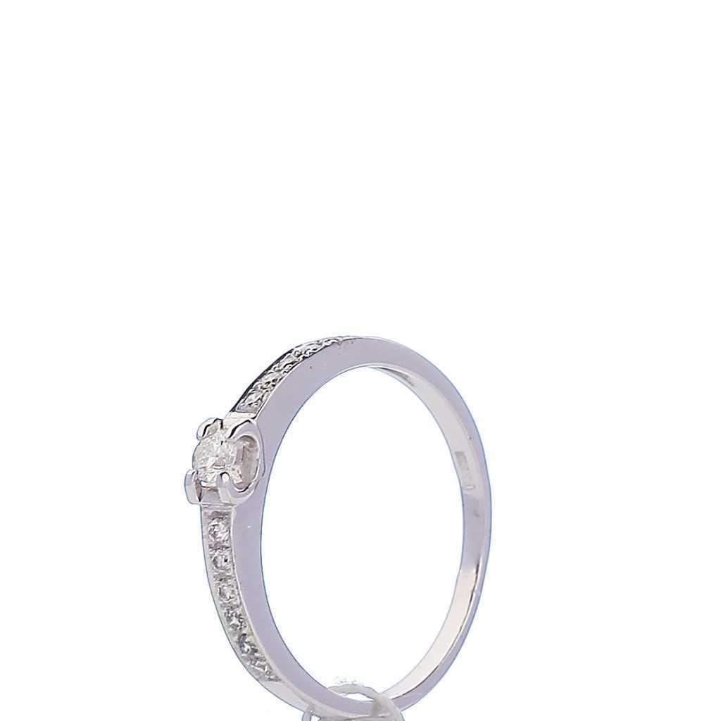 Balto aukso žiedas su briliantais - Auksiniai žiedai - Goldinga