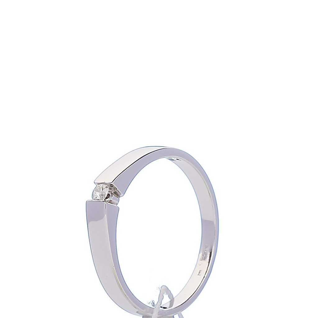 Balto Aukso Žiedas Su Briliantu - Auksiniai žiedai - Goldinga